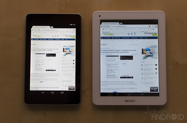 Archos 80b Platinum vs Nexus 7