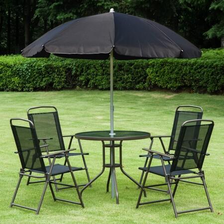 Conjunto de jardín y terraza con sombrilla