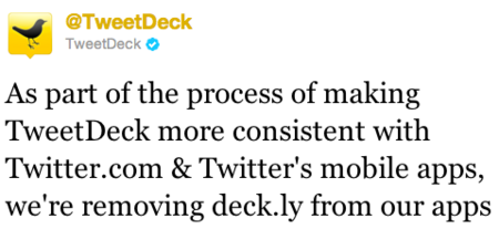 TweetDeck elimina Deck.ly y no permitirá actualizaciones de más de 140 caracteres