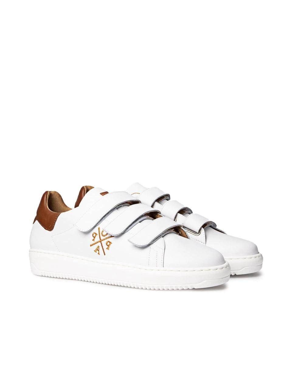 POPA Zapatillas deportivas de mujer lisas con cierre adherente en blanco
