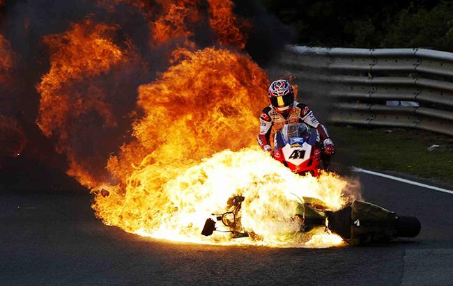 Noriyuki Haga en llamas