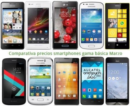 Móviles gratis y comparativa de precios con otros smartphones básicos como Lumia 520, Xperia M, Huawei G526 o LG L7 II en Marzo