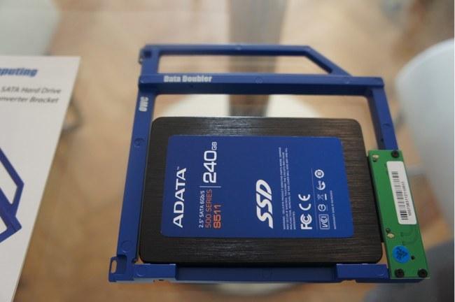 El disco SSD montado en el Data Doubler