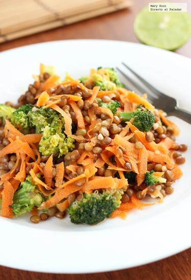 Ensalada de brócoli y lentejas. Receta