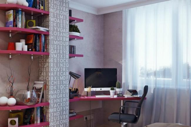 Foto de Dormitorio juvenil en magenta y gris (2/5)