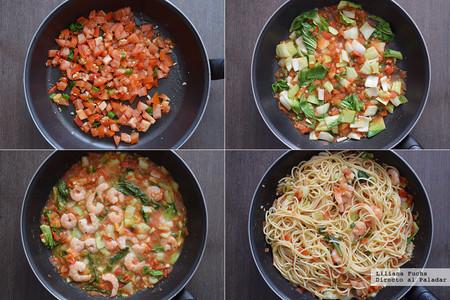 Espaguetis con Pak Choi y Gambas. Pasos
