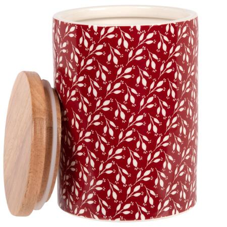 Maceta De Gres Y Bambu Rojo Con Motivos Decorativos De Hojas Blancas 0 75 L 1000 12 23 208262 2