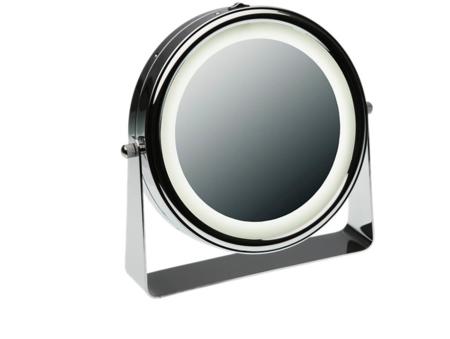 Espejo De Aumento Con Luz X5 Gris Plata