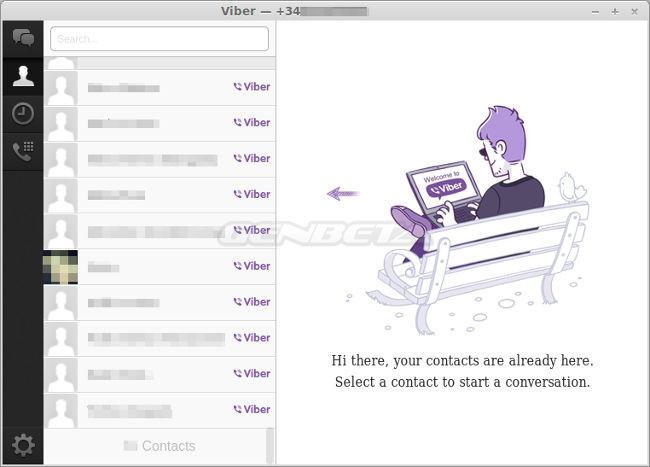 Interfaz de Viber para Linux, contactos