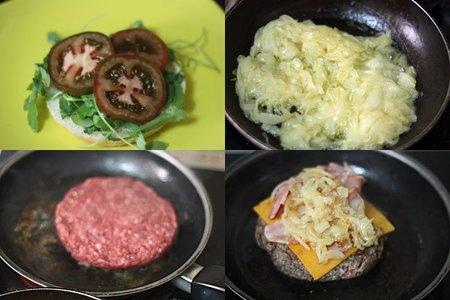Hamburguesa con cebolla caramelizada y cheddar. Pasos 2