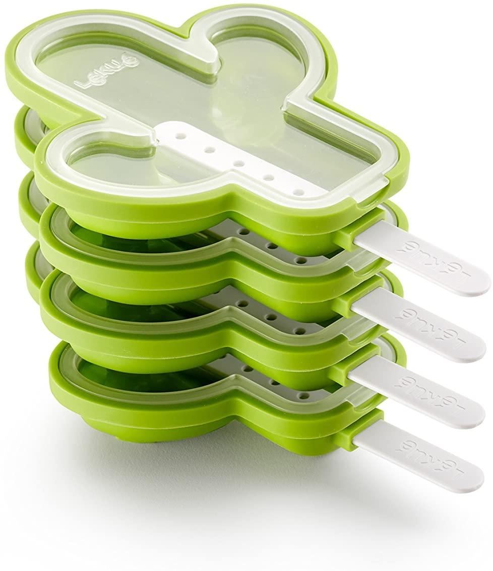 Lékué Pack de Moldes para Helados en Forma de Cactus, Silicona, Verde, 18 x 12.1 x 30 cm, 4 Unidades