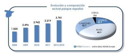 Evolución vehículos GNC en España