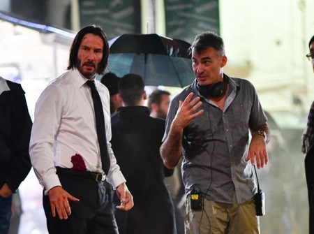 Chad Stahelski and Keanu Reeves on the set of John Wick 3