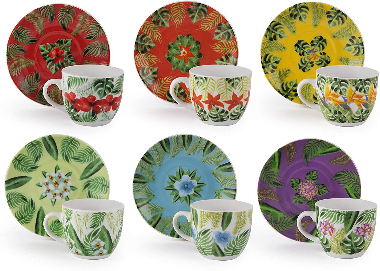Excelsa Mandala Tropical Juego de 6 tazas de café con platillo, 90 ml, multicolor, Porcelana