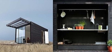 Una pequeña casa modular de vacaciones