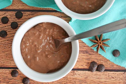 Arroz con leche de chocolate. Receta de postre