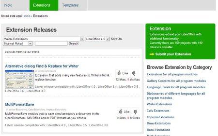 Extensiones de LibreOffice