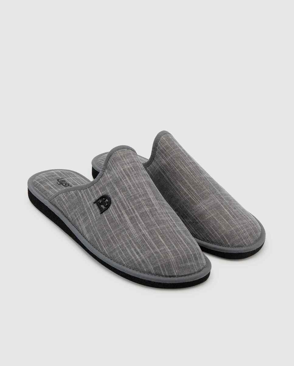 Zapatillas de casa de hombre Dustin de tejido gris  y suela EVA
