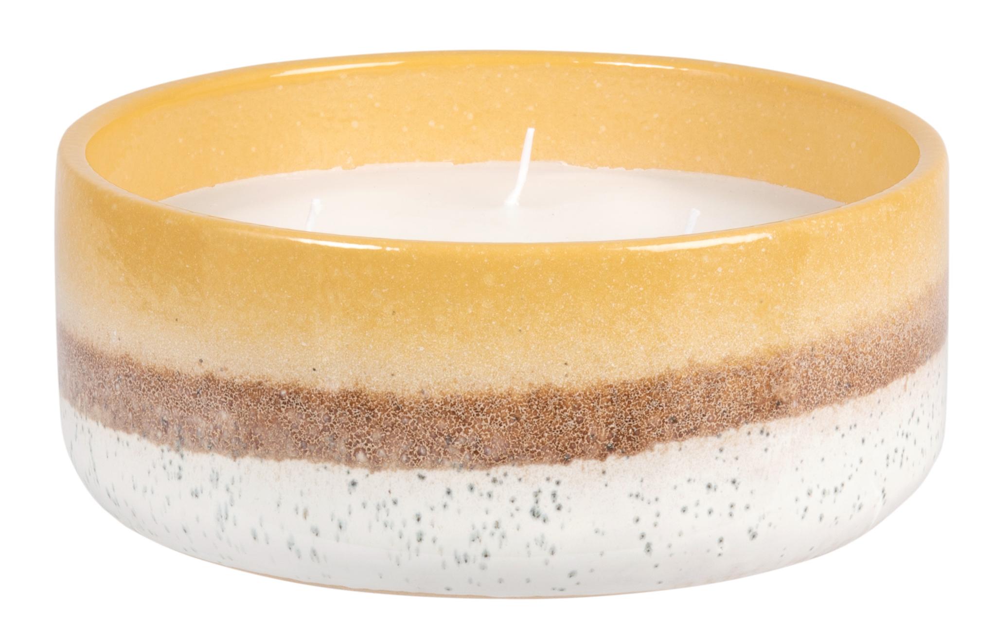 Vela perfumada en tarro de cerámica beis y amarillo