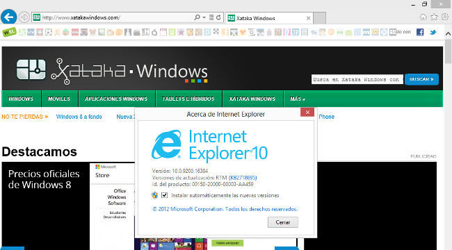 Internet Explorer 10 versión escritorio clásico