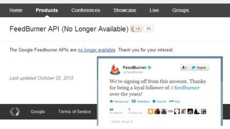 Google cerró la API de Feedburner y la cuenta de Twitter