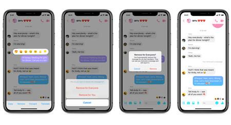 El borrado de mensajes empieza a llegar a Facebook Messenger