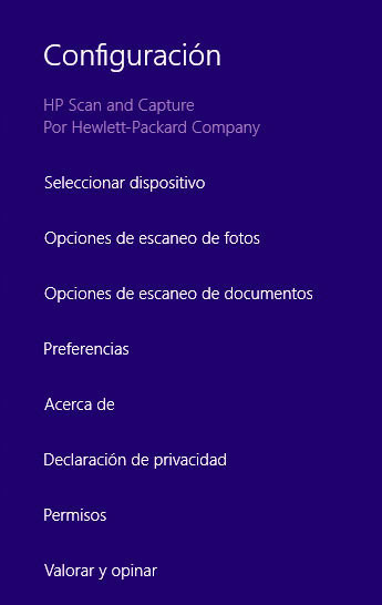 opciones hp scan and capture