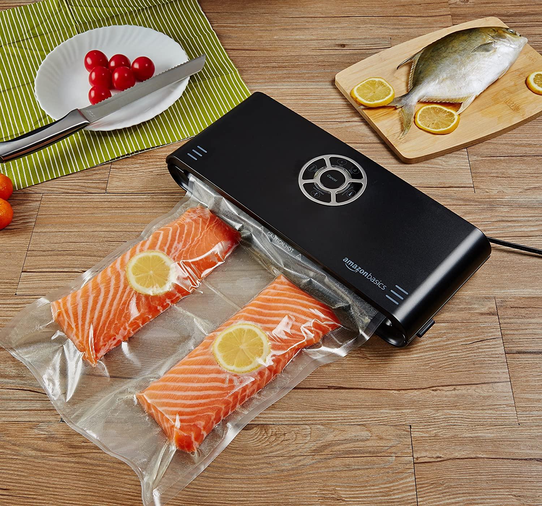 Amazon Basics - Sellador al vacío, 30 cm sellado + 10 bolsas
