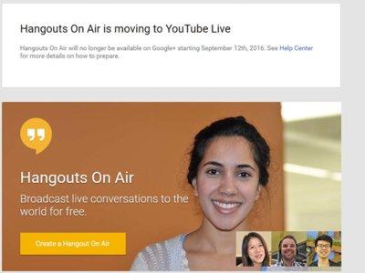 Hangouts On Air se muda de Google+ a YouTube Live