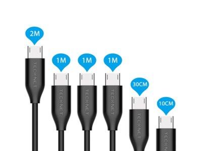 Pack de 6 cables MicroUSB TeckNet por 9,99 euros