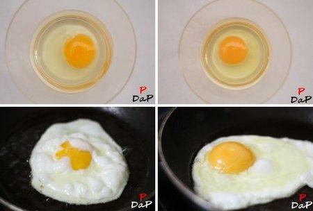 Huevos crudos y friendose
