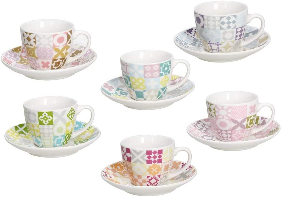 Tognana IR685345566 Medina - Juego de 6 tazas de café con plato (porcelana)