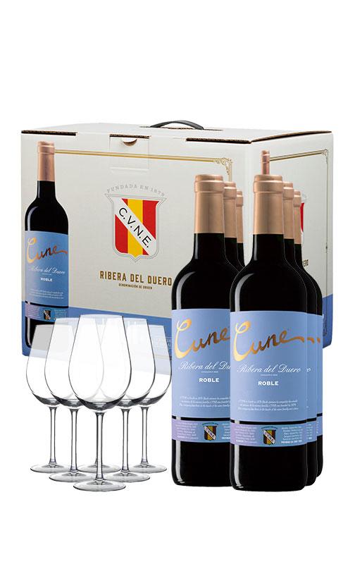 Pack de 6 vinos + 6 copas Cvne