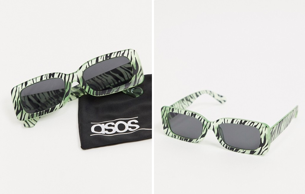 Gafas de sol cuadradas con estampado de cebra que brilla en la oscuridad