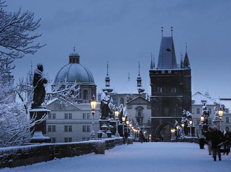 Prague Charles Bridge Winter