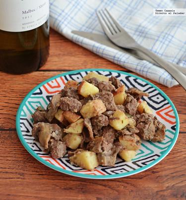Filete de res y champiñones al vino tinto. Receta