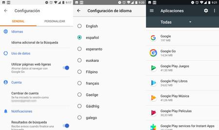 Google Go Ajustes