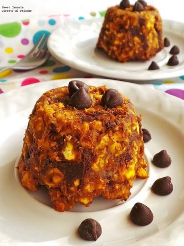 Pastelitos de palomitas con crema de cacahuate y chocolate. Receta