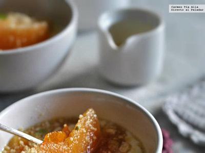 Receta de membrillo en almíbar de naranja. Postre de tres ingredientes