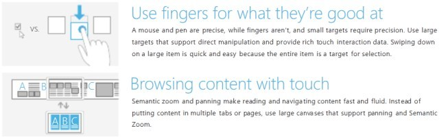 Windows 8 touch guidance