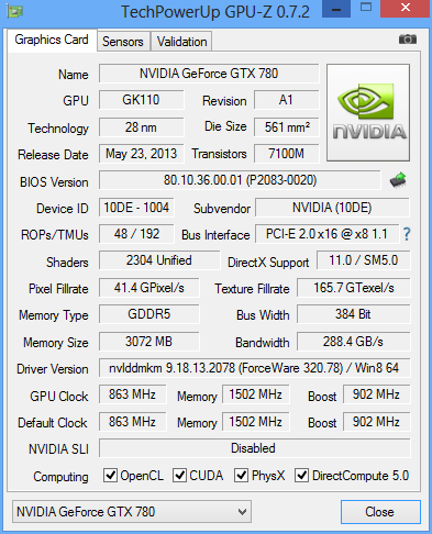 NVidia GTX 780 GPUz