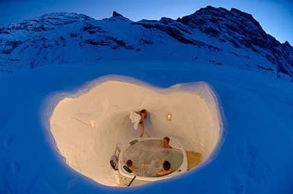 Hoteles iglú en los Alpes suizos