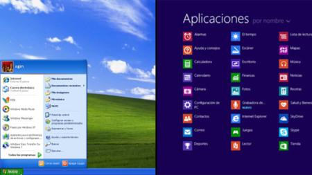 Menú de inicio en Windows XP y lista de aplicaciones en Windows 8.1