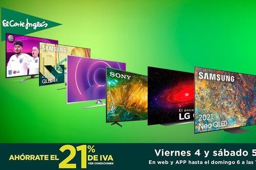 13 smart TVs que te salen mucho más baratas en las ofertas de los Días sin IVA de El Corte Inglés: estas LG, Sony, Samsung, o Philips llevan descuentos de hasta un 48%