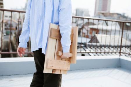 Mesita plegable de madera para la barandilla del balcón