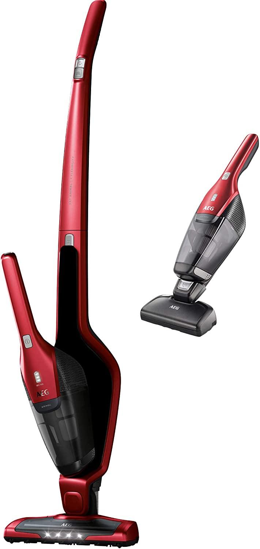 AEG CX7-2-35WR Aspiradora Escoba Sin Cable y de Mano (Sin Bolsa, hasta 35 Minutos, 2 Velocidades, Cepillo 180º, 79dB de Ruido, Depósito 0.5L, Función Limpieza Cepillo, Luces Cepillo LED, Rojo)