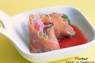 Rollitos de salmón y fideos de soja. Receta