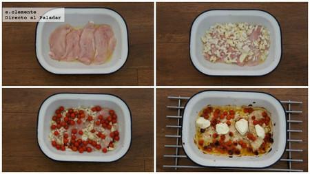 Pechugas de pollo al horno con tomates cherry y mascarpone