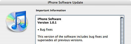 Actualización de software: iPhone 1.0.1