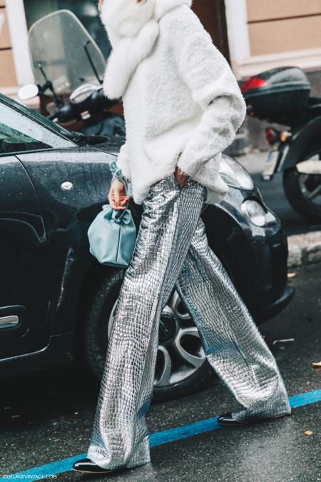 Milan Fashion Week Fall 16 Mfw Street Style Collage Vintage Candela Novembre Loewe Leather Coco Trousers Metallic 2